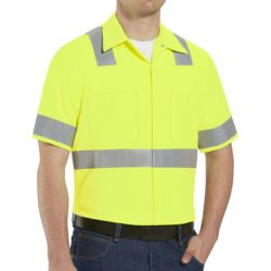 Red Kap SS24HV High Visibility Safety Short Sleeve Work Shirt Thumbnail