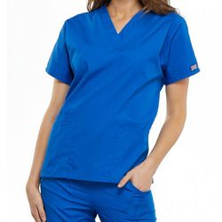 Cherokee Style 4700 Women's Bottom-Patch Pocket Scrub Top With Barry University Logo Thumbnail